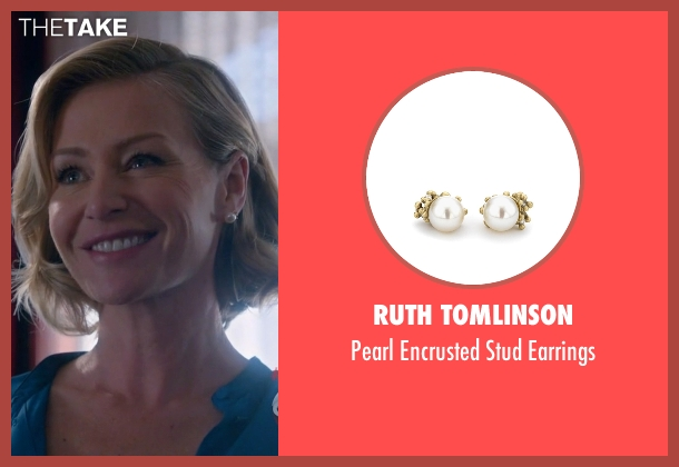Ruth Tomlinson white earrings from Scandal seen with Elizabeth North (Portia de Rossi)