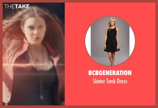 BCBGeneration black dress from Avengers: Age of Ultron seen with Elizabeth Olsen (Wanda Maximoff / Scarlet Witch)