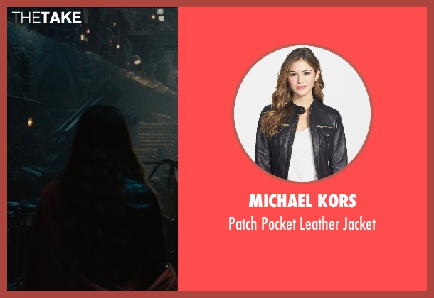 Michael Kors black jacket from Avengers: Age of Ultron seen with Elizabeth Olsen (Wanda Maximoff / Scarlet Witch)