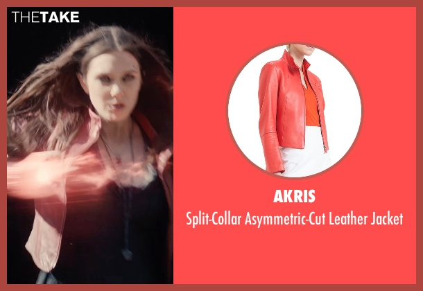 Akris red jacket from Avengers: Age of Ultron seen with Elizabeth Olsen (Wanda Maximoff / Scarlet Witch)