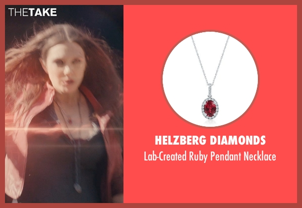 Helzberg Diamonds red necklace from Avengers: Age of Ultron seen with Elizabeth Olsen (Wanda Maximoff / Scarlet Witch)