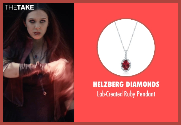 Helzberg Diamonds red pendant from Avengers: Age of Ultron seen with Elizabeth Olsen (Wanda Maximoff / Scarlet Witch)