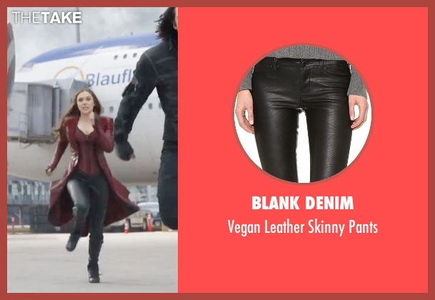 Blank Denim  black pants from Captain America: Civil War seen with Elizabeth Olsen (Wanda Maximoff / Scarlet Witch)