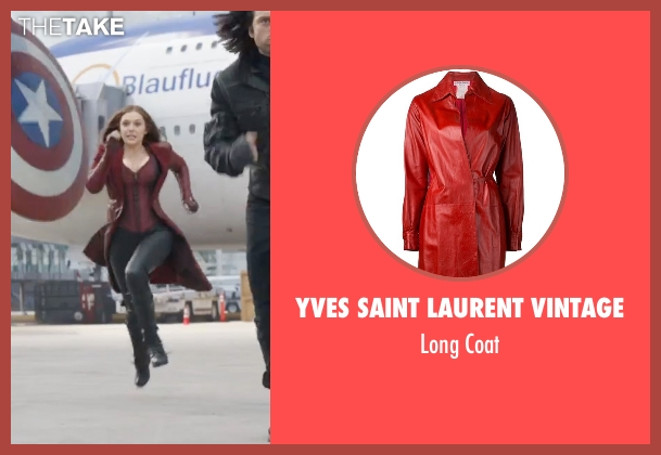 Yves Saint Laurent Vintage red coat from Captain America: Civil War seen with Elizabeth Olsen (Wanda Maximoff / Scarlet Witch)