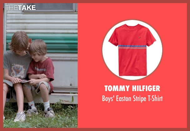 Tommy Hilfiger red t-shirt from Boyhood seen with Ellar Coltrane (Mason)