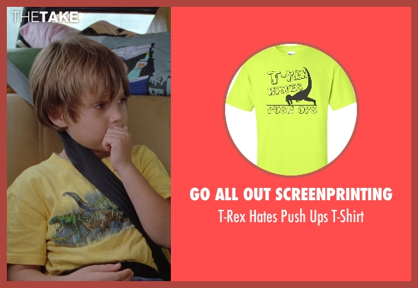 Go All Out Screenprinting yellow t-shirt from Boyhood seen with Ellar Coltrane (Mason)