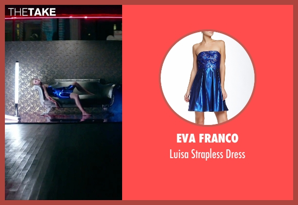 Eva Franco blue dress from The Neon Demon seen with Elle Fanning (Jesse)