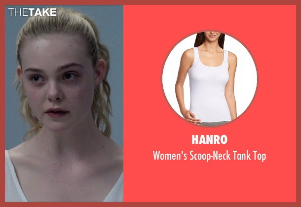 Hanro white top from The Neon Demon seen with Elle Fanning (Jesse)