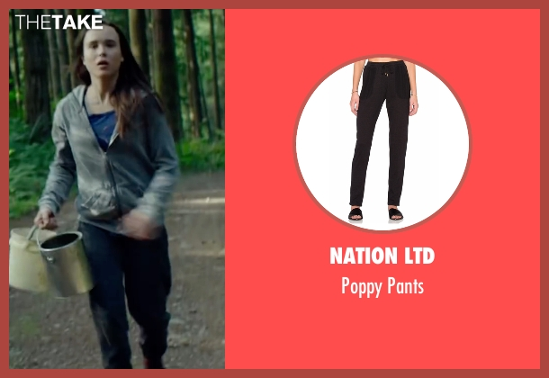 Nation LTD black pants from Into the Forest seen with Ellen Page (Nell)