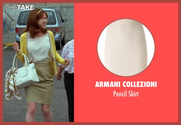 Armani Collezioni beige skirt from Bridesmaids seen with Ellie Kemper (Becca)
