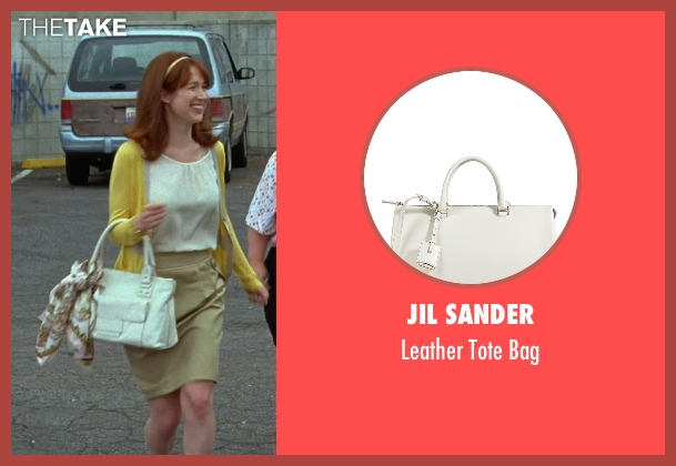 Jil Sander white bag from Bridesmaids seen with Ellie Kemper (Becca)