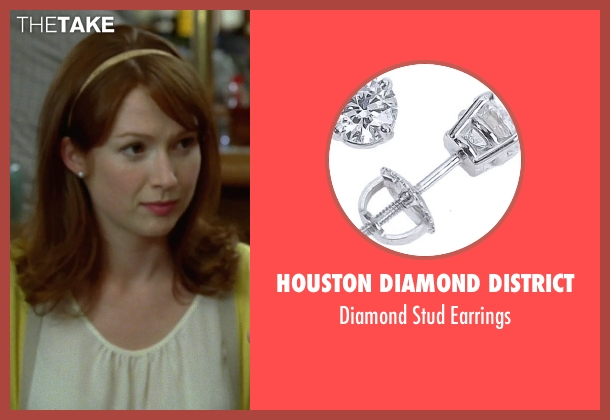 Houston Diamond District white earrings from Bridesmaids seen with Ellie Kemper (Becca)