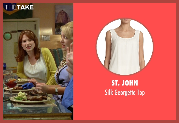 St. John white top from Bridesmaids seen with Ellie Kemper (Becca)