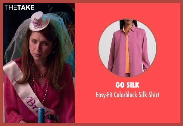 Go Silk pink shirt from Laggies seen with Ellie Kemper (Allison)