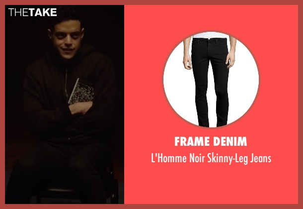 Frame Denim black jeans from Mr. Robot seen with Elliot Alderson (Rami Malek)