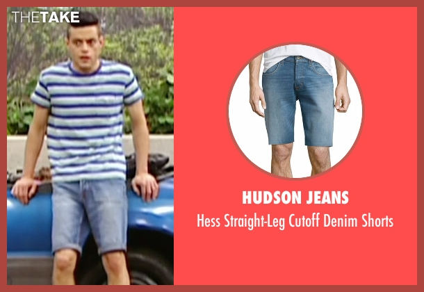 Hudson Jeans blue shorts from Mr. Robot seen with Elliot Alderson (Rami Malek)