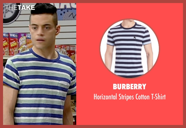 Burberry blue t-shirt from Mr. Robot seen with Elliot Alderson (Rami Malek)
