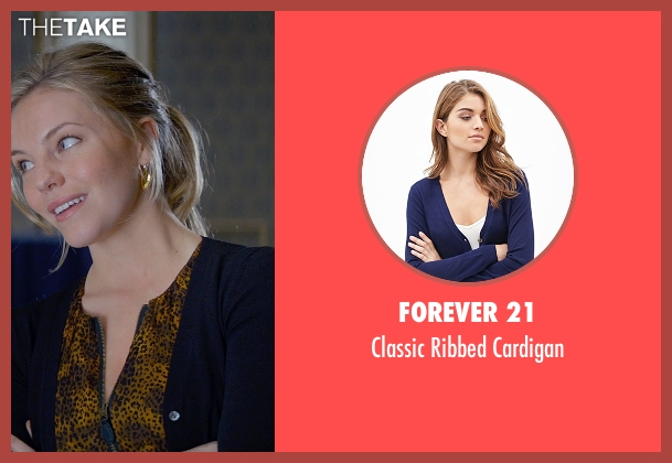 Forever 21 blue cardigan from Fifty Shades of Grey seen with Eloise Mumford (Kate Kavanagh)