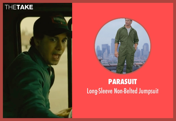 Parasuit green jumpsuit from A Most Violent Year seen with Elyes Gabel (Julian)