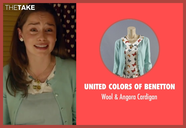 United Colors of Benetton blue cardigan from Me Before You seen with Emilia Clarke (Lou Clark)
