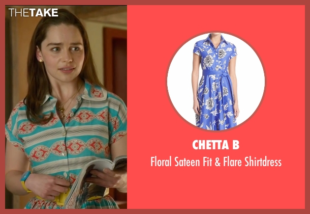 Rickie Freeman for Teri Jon blue shirtdress from Me Before You seen with Emilia Clarke (Lou Clark)