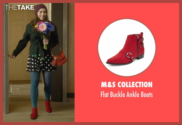 M&S Collection red boots from Me Before You seen with Emilia Clarke (Lou Clark)