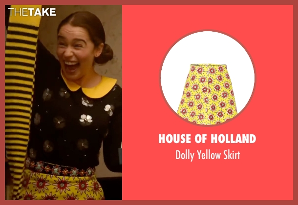 House of Holland yellow skirt from Me Before You seen with Emilia Clarke (Lou Clark)