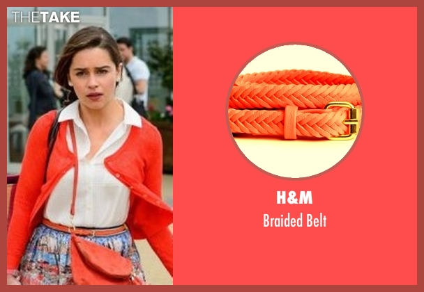 H&M orange belt from Me Before You seen with Emilia Clarke (Lou Clark)