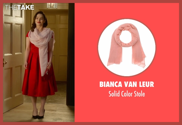 Bianca Van Leur pink stole from Me Before You seen with Emilia Clarke (Lou Clark)