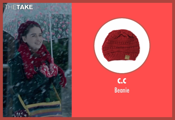 C.C red beanie from Me Before You seen with Emilia Clarke (Lou Clark)