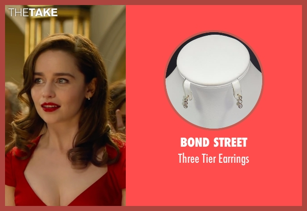 Bond Street silver earrings from Me Before You seen with Emilia Clarke (Lou Clark)