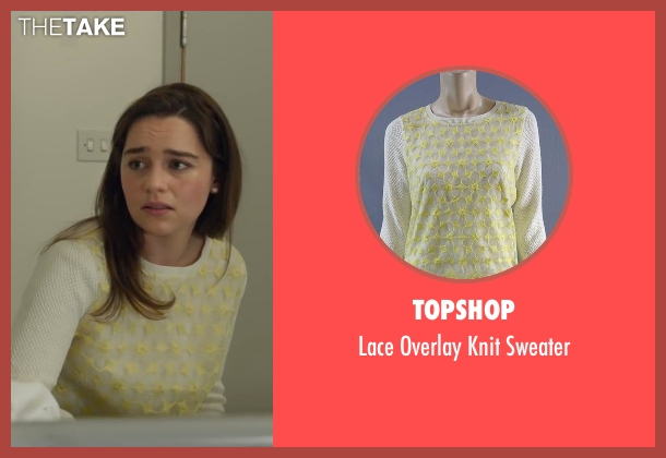 Topshop white sweater from Me Before You seen with Emilia Clarke (Lou Clark)