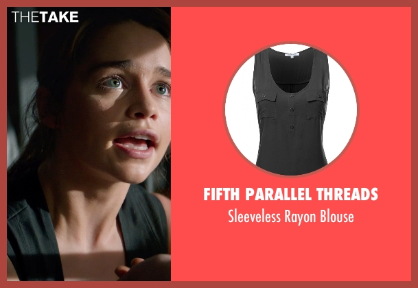 Fifth Parallel Threads black blouse from Terminator: Genisys seen with Emilia Clarke (Sarah Connor)