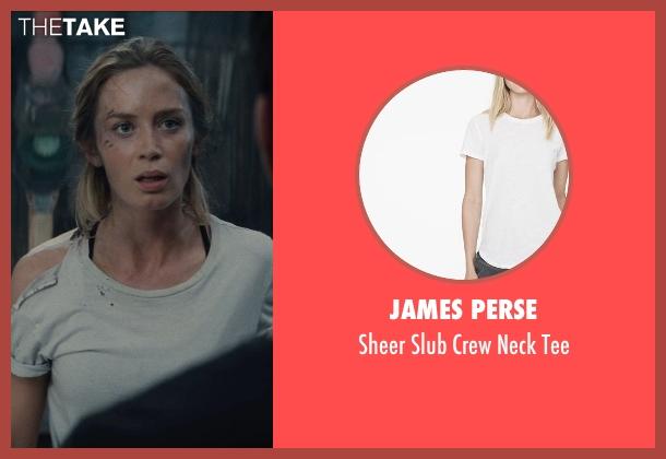 JAMES PERSE white tee from Edge of Tomorrow seen with Emily Blunt (Rita Vrataski)