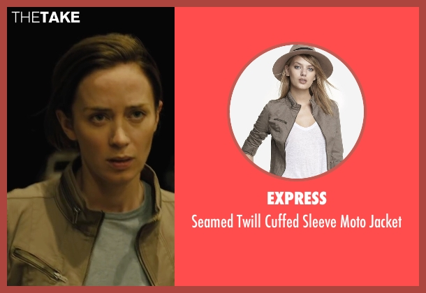 Express beige jacket from Sicario seen with Emily Blunt (Kate Macer)