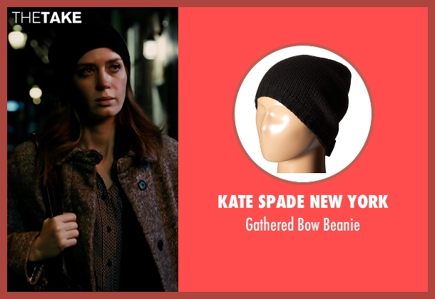 Kate Spade New York black beanie from The Girl on the Train seen with Emily Blunt (Rachel Watson)