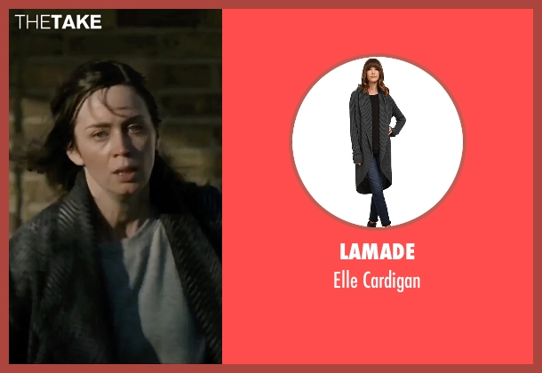 LAmade gray cardigan from The Girl on the Train seen with Emily Blunt (Rachel Watson)
