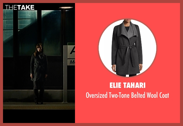 Elie Tahari gray coat from The Girl on the Train seen with Emily Blunt (Rachel Watson)