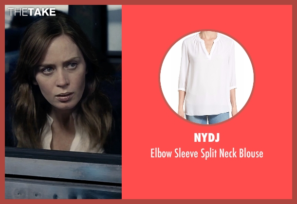 NYDJ white blouse from The Girl on the Train seen with Emily Blunt (Rachel Watson)