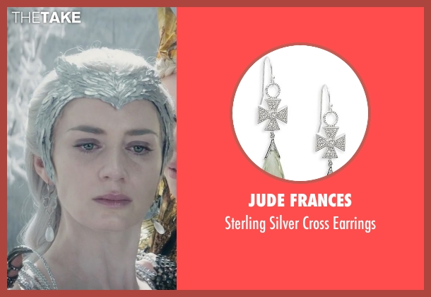 Jude Frances silver earrings from The Huntsman: Winter's War seen with Emily Blunt (Freya)
