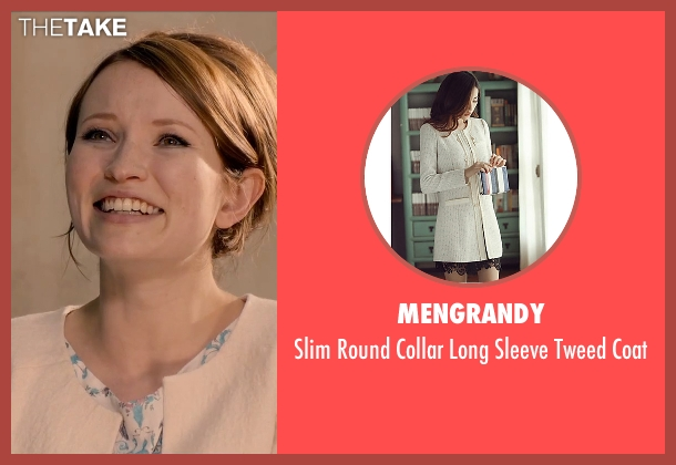 Mengrandy beige coat from Legend seen with Emily Browning (Frances Shea)