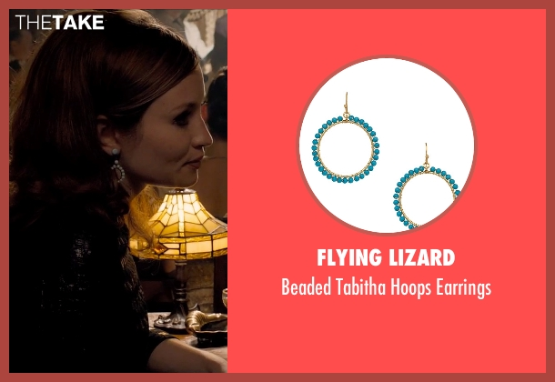 Flying Lizard blue earrings from Legend seen with Emily Browning (Frances Shea)