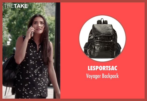 LeSportsac black backpack from Pretty Little Liars seen with Emily Fields (Shay Mitchell)
