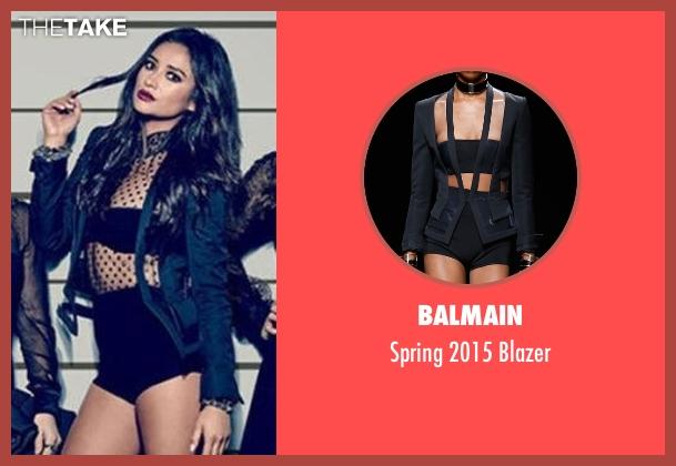 Balmain black blazer from Pretty Little Liars seen with Emily Fields (Shay Mitchell)
