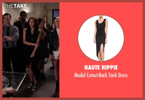 Haute Hippie black dress from Pretty Little Liars seen with Emily Fields (Shay Mitchell)