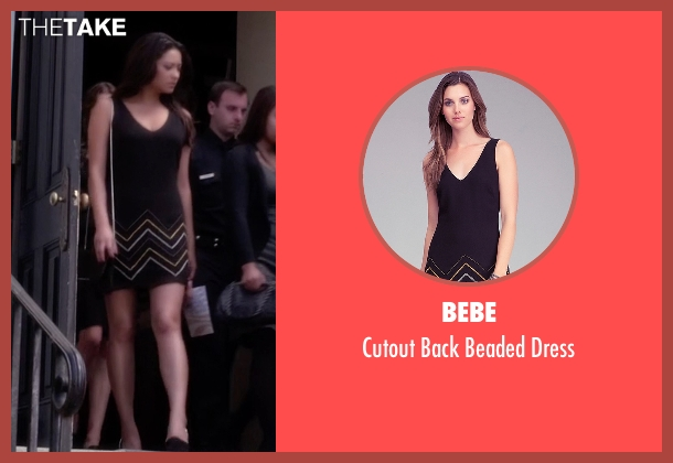 Bebe black dress from Pretty Little Liars seen with Emily Fields (Shay Mitchell)