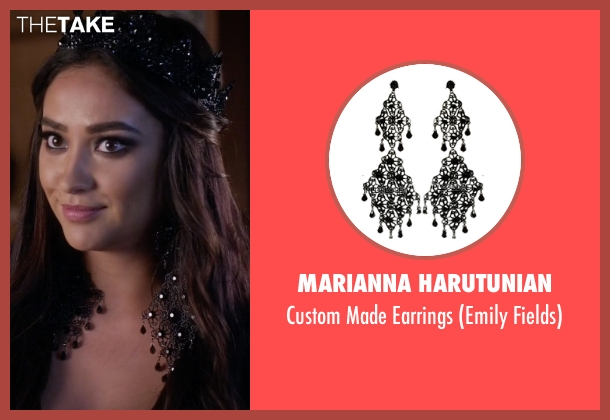 Marianna Harutunian black earrings from Pretty Little Liars seen with Emily Fields (Shay Mitchell)