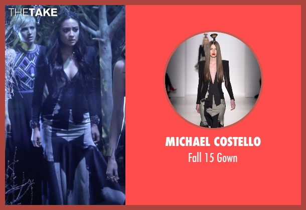 Michael Costello black gown from Pretty Little Liars seen with Emily Fields (Shay Mitchell)