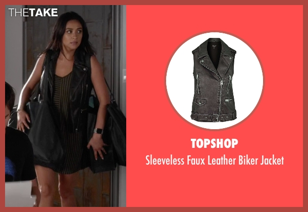 Topshop black jacket from Pretty Little Liars seen with Emily Fields (Shay Mitchell)