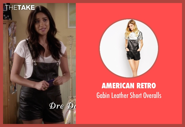 American Retro black overalls from Pretty Little Liars seen with Emily Fields (Shay Mitchell)